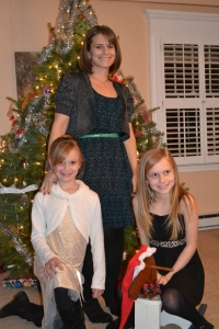 Nora, Me (with the flu), and Sophia on Christmas Eve